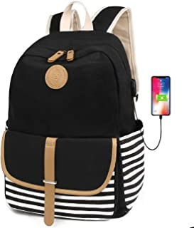FLYMEI Canvas Backpack for Teen Girls, Lightweight Cute School Backpack 15.6'' Laptop Backpack with USB Charging Port, Casual Travel Back Pack Durable Bookbag for Boys/Girls
