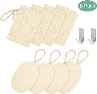Éponges à Vaisselle,GVOO Éponge de Loofah 8 Pièces Éponges Loofah Naturelles Éponges Naturelles Laveur de Vaisselle Éponges Vertes Naturelles pour Nettoyage de Vaisselle,avec 2 Crochets Adhésif