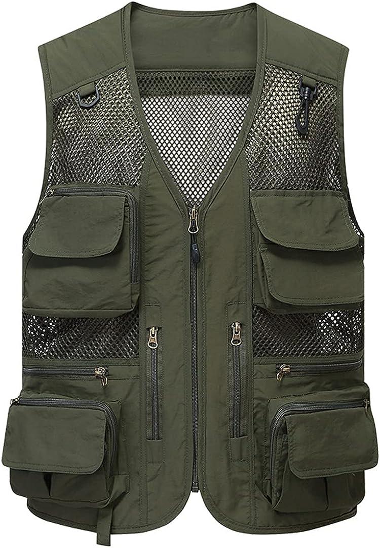 Mesh Breathable Detachable Fishing Vest Men's Multi-Pocket Travel Sleeveless Jacket