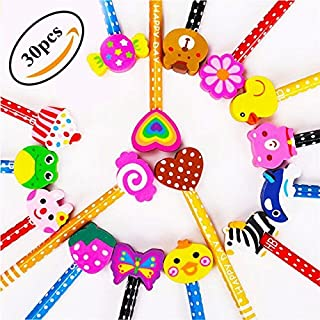 Lápices Infantiles con Borrador de Dibujos Multicolores 30 pcs, KimKo Lápices para Niños Regalos para Fiestas Cumpleaños Premios Escolares