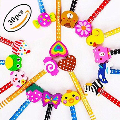 Lápices Infantiles con Borrador de Dibujos Multicolores 30 pcs, KimKo Lápices para...