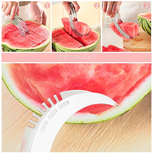 Watermelon Slicer Multifunctional Fruit Slicer All Stainless Steel Fun Kitchenware stainless steel silver, by LC Prime