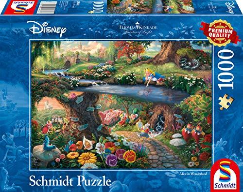 Schmidt Spiele 59636 Thomas Kinkade, Disney, Alice im Wunderland, 1000 Teile Puzzle, Bunt