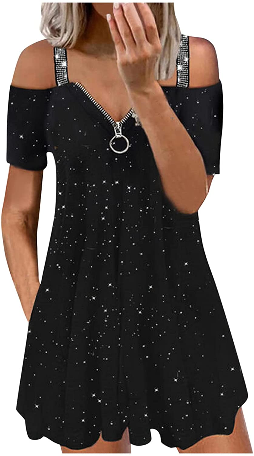 Cold Choice Ranking TOP7 Shoulder Tunics Tops Dress for Short Women Sleeve Ope Strap