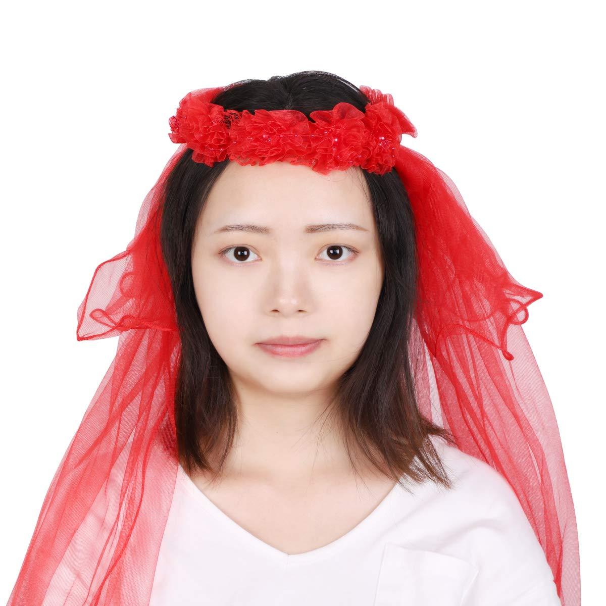 Flower Girls Veils First Communion Veils with Floral Wreath 2 Layers Flower Pearl Lace Veils Hair Accessory Wedding Flower Headband Hair Wreath