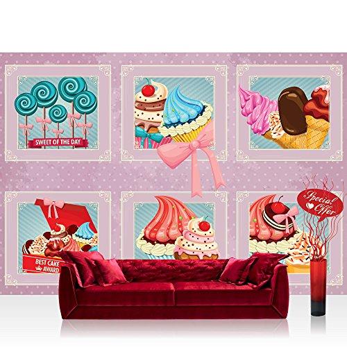 Fototapete 368x254 cm PREMIUM Wand Foto Tapete Wand Bild Papiertapete - Kunst Tapete Bilderrahmen Eiscreme Donuts Cupcakes Lolli Süßware rosa - no. 1501