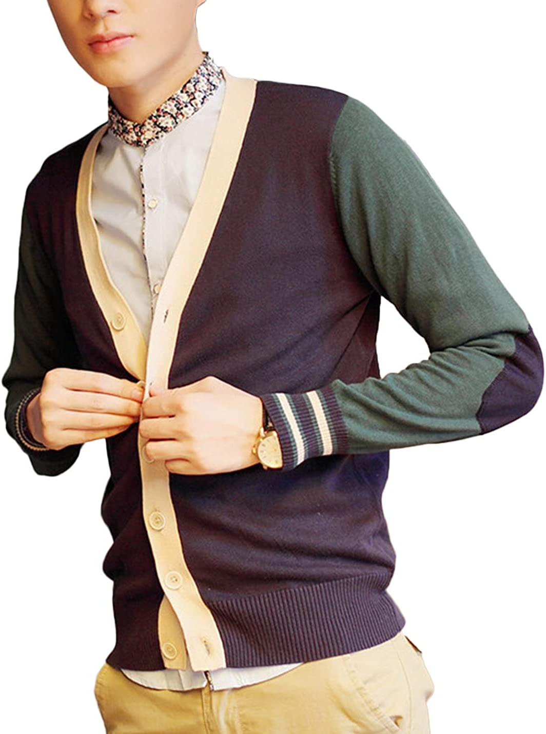 Lentta Mens Slim Fit Button Up Colorblock V Neck Knitted Cotton Cardigan Sweater