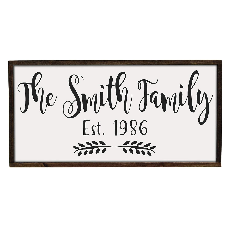 Handmade Farmhouse Style Framed Wood Sign, Personalized Family Name Established Date, 3 Sizes