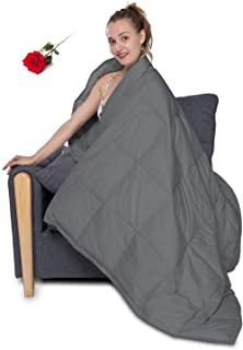 HOMBYS 50x70in Lightweight Thin Down Throw Comforter Blanket Cover Packable Down Blanket for Couch Down Blend for Adults & Kids Sleeping Napping Camping Traveling Grey 1.77lbs 100% Down Filling