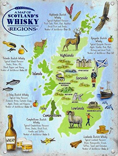 Metallschild, 30 x 40 cm, Motiv: Schottland-Whisky-Regionskarte, Vintage-Stil, Emaille, groß