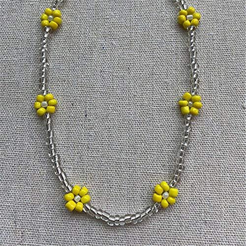 Shangwang - Collar corto perlado hecho a mano colorido, acrílico, flor de margarita, transparente 9