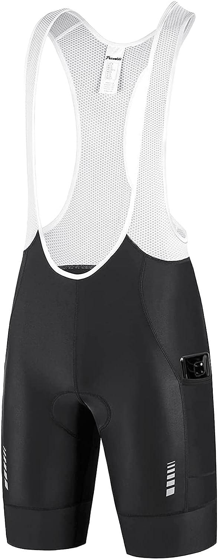 Przewalski Men's Cycling Bike Bib Max 87% OFF Shorts 2021 model 4D Pockets P with Phone