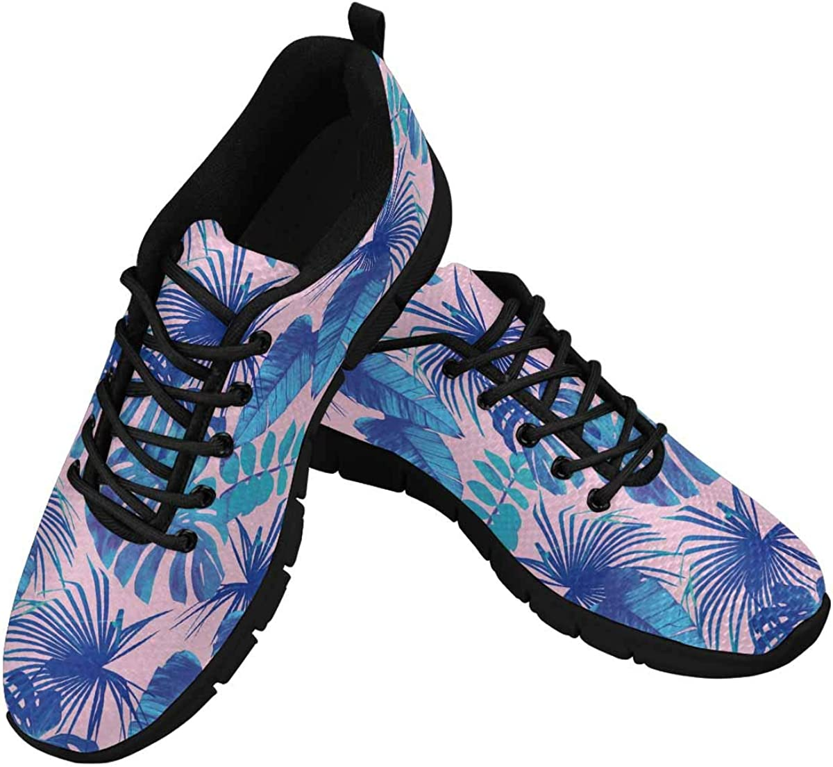 InterestPrint Blue Tropical Leaves Women's Lightweight Athletic Casual Gym Sneakers