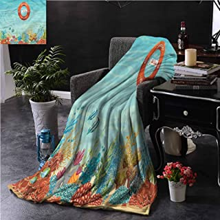SSKJTC Marine Coral Throw Blanket Double-Sided Printing Lifebuoy Coral Reef Dorm Bed Baby Cot Traveling Picnic W54 xL72