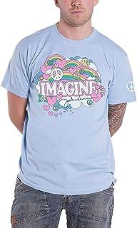 John Lennon T Shirt Rainbows Love & Peace Logo Nouveau Officiel Homme Bleu