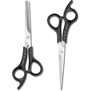 3 Pcs Professional Hair Cutting Set, Haircut Scissors Kit with Razor Edge Cutting Scissors, Texture Hairdressing Thinning Shears, Comb for Barber, Salon, Home, School