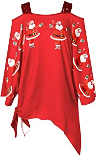 Ugly Christmas Sweater, Women's Santa Claus Print Long Sleeve Pullover Tops Cold Shoulder Casual Blouses Shirts Gifts by Inkach (US:12-16/Tag:XXL, Red)