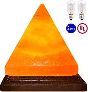 pursalt Himalayan Salt Lamp Night Light Hand Carved Taly Wood Base Pink Crystal Rock Salt Light for Air Purifying, Home Décor, Table Lamp, Gifts, Extra Replacement Bulb, Himalayan Salt Lamp Pyramid