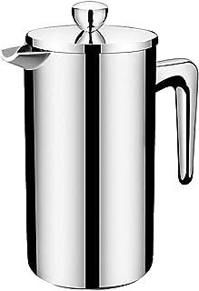フレンチプレス コーヒープレス ダブルウォール コーヒーメーカー カフェ 紅茶 350ml/800ml/1000ml ステンレス製 フィルター付き シルバー (B-350ml)