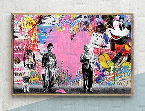 KELDOG Banksy Puzzles, Holz Graffiti Kunst Puzzle Puzzles, 1000 Stück Einstein Chaplin Kunst Bilder Puzzle, Abstrakte Kreative Puzzles Spielzeug, Familiendekoration