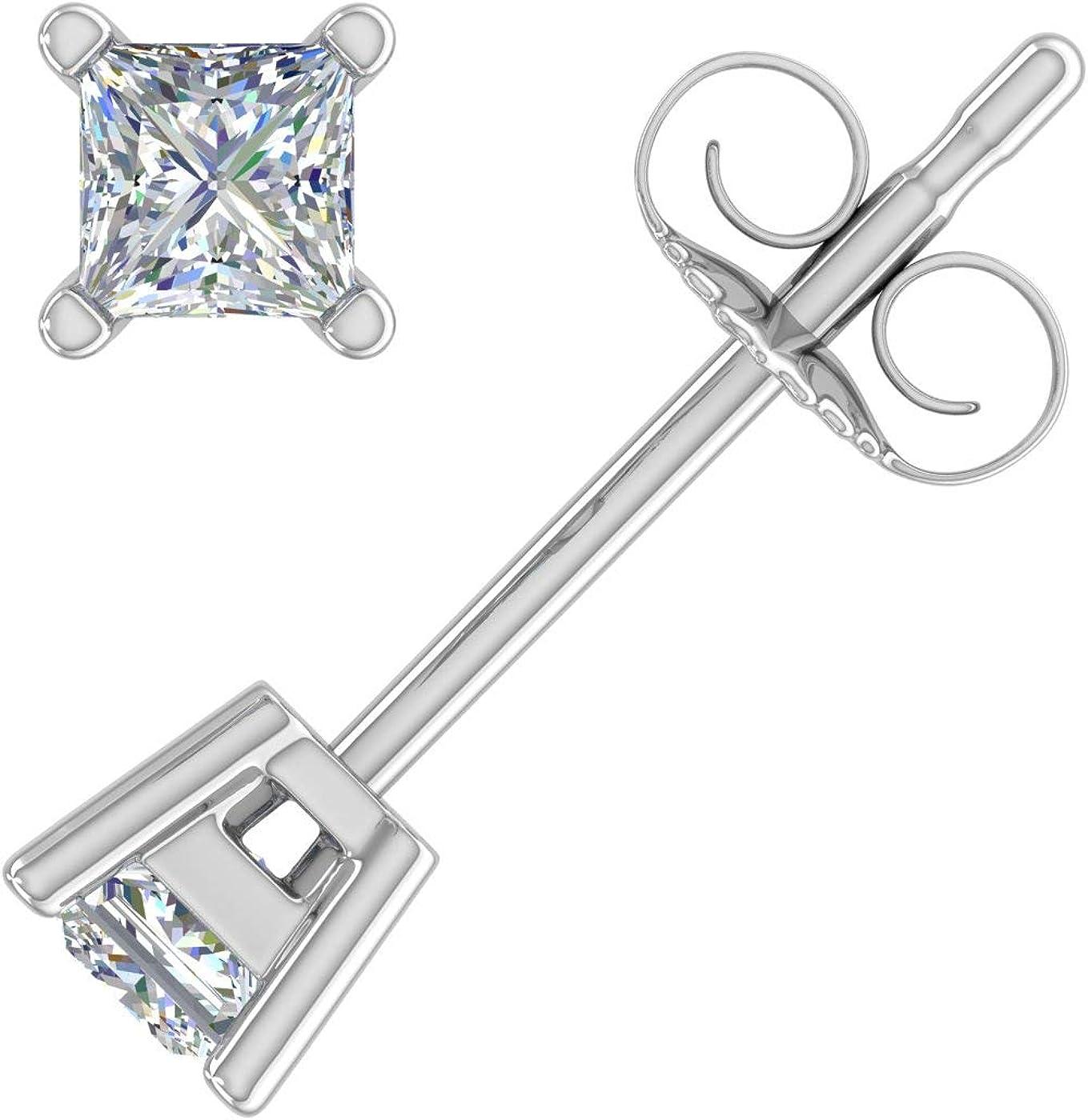 1 10 Carat to 4 Bombing new work Princess Over item handling 14 Earrings in Diamond Stud Cut