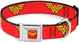 Buckle-Down Dog Collar Seatbelt Buckle Wonder Woman Logo Red Available in Adjustable Sizes for Small Medium Large Dogs