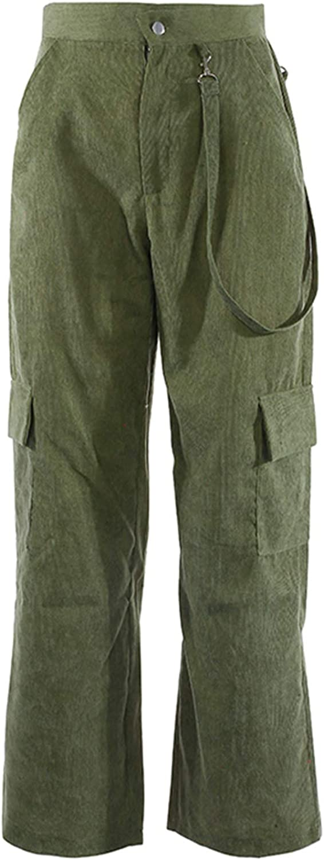 farrubbyine8 Womens High Waist Cargo Pants Casual Wide Leg Corduroy Straight Workout Pants with Pockets