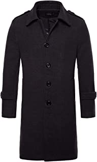 AOWOFS Men's Mid Long Wool Woolen Pea Coat Single Breasted Overcoat Winter Trench Coat