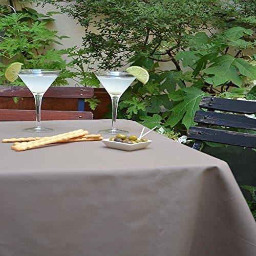 Nappe Ronde anti-tache imperméable 160cm Uni Taupe par Fleur de Soleil - coton enduit - sans solvant - sans phtalate - 100% fabrication française