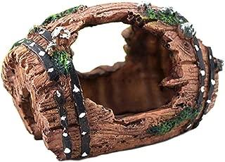 Xuanhemen Aquarium Wine Barrel Resin Ornament Artificial Barrels Cave Fish Tank Landscape Decoration Daily Supplies
