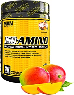 Man Sports Iso Amino Pure Isolated BCAA. Fat Burning Mango Flavored BCAA Powder for Muscle Recovery and Lean Muscle Growth...