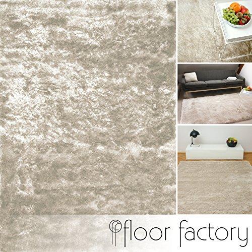 floor factory Exklusiver Hochflor Shaggy Teppich Satin beige/Creme 200x290 cm - edler, seidig glänzender Teppich