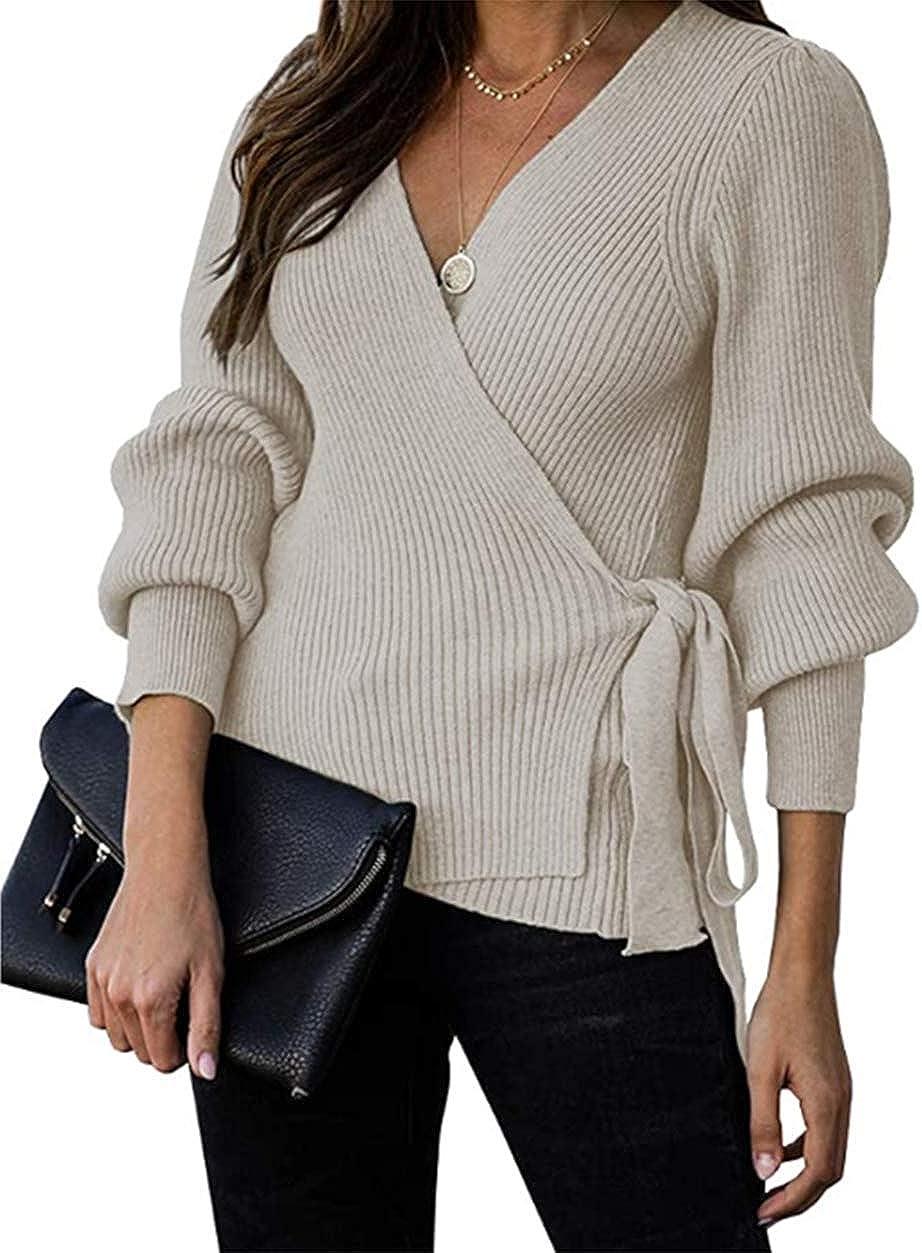 KIRUNDO Women's 2021 Fall Winter Sexy V Neck Oversized Sweater Balloon Sleeve Ribbed Wrap Chunky Knit Pullover Tunic Top