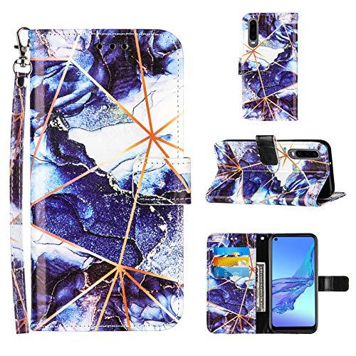 Ostop Hülle Kompatibel mit Huawei P30 Schutzhülle Brieftasche Premium Leder Flip Tasche Handyhülle für Mädchen Männer [Handschlaufe][Standfunktion][Kartenfach],Marmor Dunkelblau