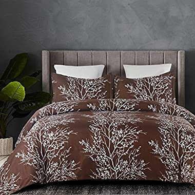 Vaulia Lightweight Microfiber Duvet Cover Set, Printed Branch Pattern Design - Brown, Queen Size