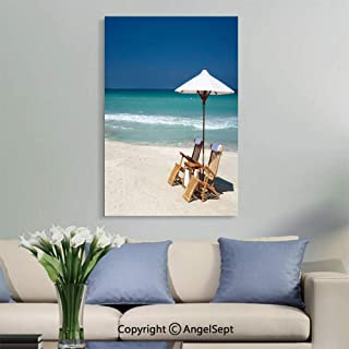 SfeatruAngel_SOSUNG Painting Bathroom Decor Framed Wall Art,Two Chairs with Umbrella on a Beach in Florida Stock (12