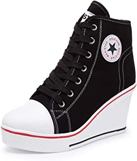 Nesyd Women's Sneaker High-Heeled Canvas Shoes High-Top Wedge Sneakers Platform Lace up Side Zipper Pump Fashion Sneakers