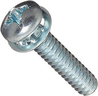 "Steel Machine Screw, Zinc Plated Finish, Pan Head, Phillips Drive, Meets ASME B18.13, Internal-Tooth Lock Washer, 7/16"" Le..."