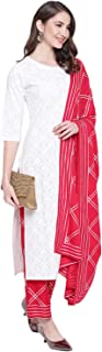 Khushal K Women's Cotton Printed Kurta With Palazzo Dupatta Set