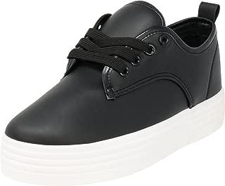 Cambridge Select Women's Round Toe Lace-up Low Top White Sole Platform Flatform Fashion Sneaker