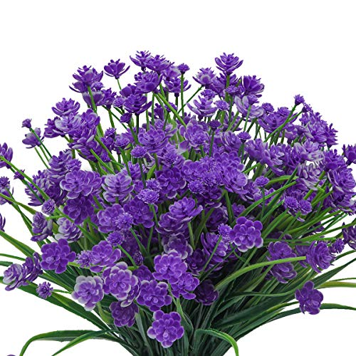 Pauwer 6 paquetes de flores artificiales para exteriores, arbustos verdes falsos, plantas de ramo de plástico para cestas colgantes, resistentes a los rayos UV plantas de flores artificiales (púrpura)