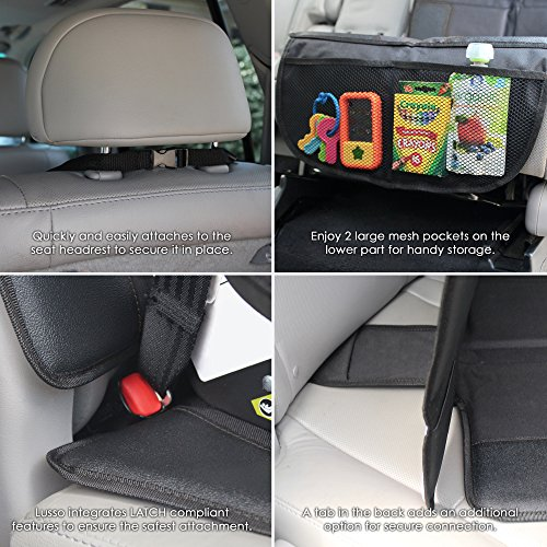 Lusso Gear Car Seat Protector with Thickest Padding - Featuring XL Size (Best Coverage Available), Durable, Waterproof 600D Fabric, PVC Leather Reinforced Corners,