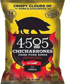 4505 Meats En Fuego Chicharrones, Fried Pork Rinds, Keto Certified, Family Size Bag, 14 Servings, 7 Ounce