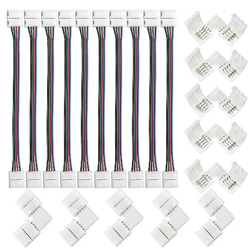 fsjee 10mm 5050 rgb led strip light connectors kits with 10pcs l shape 4  pin right