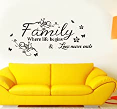 Decals Design 6413 StickersKart Wall Stickers Wall Quote Family Where Life Begins (Wall Covering Area: 90cm x 50cm)(Black)