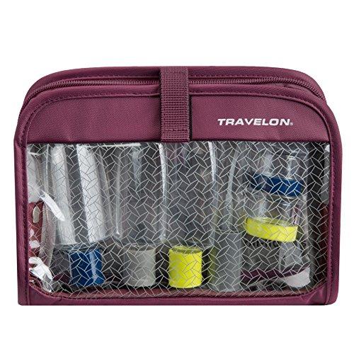 Travelon Wet Dry 1 Quart Bag with Plastic Bottles, Plum