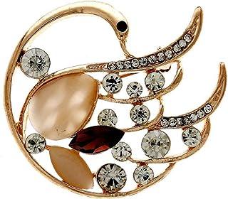 8d9540e1d1c Anuradha Art Gold Finish Peacock Inspired Designer Saree Pin/Brooch for  Women/Girls