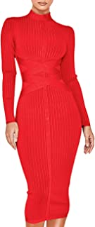 Best red long sleeve bandage dress Reviews