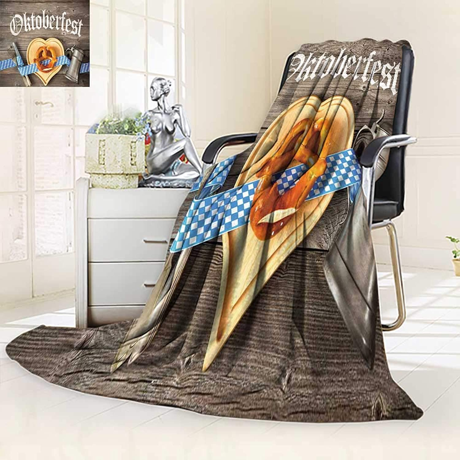 Decorative Throw Duplex Printed Blanket Oktoberfest Beer Festival Template  Home, Couch, Outdoor, Travel Use 39.5  W by 59  H
