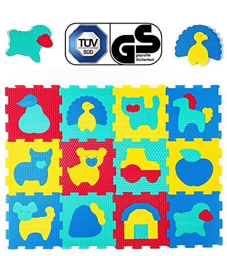 Hakuna Matte Puzzlematte für Babys – TÜV SÜD GS Zertifiziert – 12 Fliesen mit Tieren in einem Verpackungskarton – 20% dickere Spielmatte – 4 Oberflächentypen – 1,2x0,9m